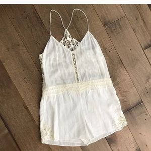 Saylor romper! White with tan lace.